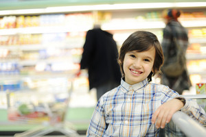 Boy in supermarket