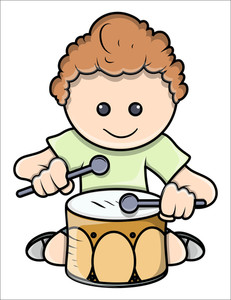 Boy Playing Drum - Vector Illustrations