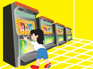 Boy Playing With Slot Machine