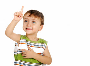 Boy points his finger upwards