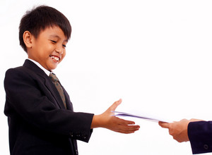 Boy Receiving A Certificate