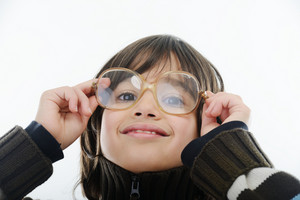 Boy with glasses and copy space