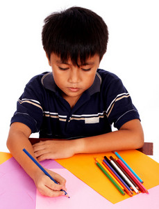 Boy With His Colored Pencils Drawing Picture