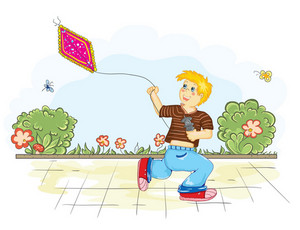Boy With Kite Vector Background