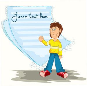 Boy With Note Paper Vector Illustration