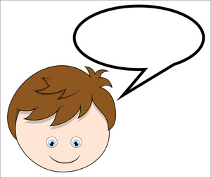 Boy With Speech Bubble - Vector Cartoon Illustration