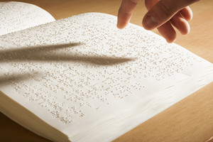 Braille book still life view