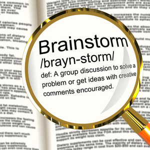 Brainstorm Definition Magnifier Showing Research Thoughts And Discussion