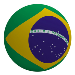 Brazil Flag On The Ball Isolated On White.