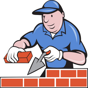 Bricklayer Mason At Work