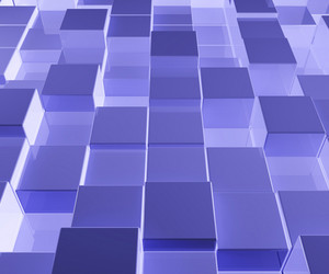 Bright Blue Glass Background With Artistic Cubes Or Squares