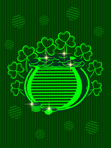 Bright Color's Pitcher With Coins And Clover Flower On Beautiful Background. Vector