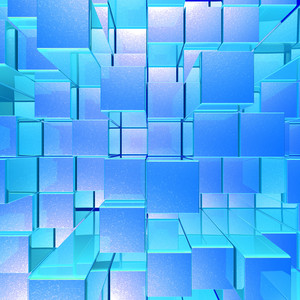 Bright Glowing Blue Opaque Metal Background With Artistic Cubes And Squares