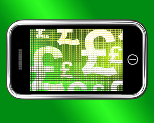 British Pounds Signs On Mobile Phone Screen