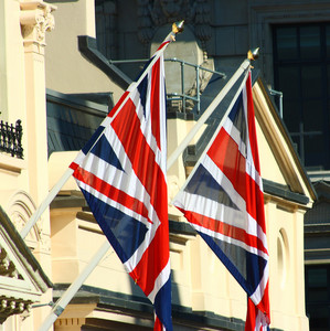 British Union Jacks Outside A Building In England