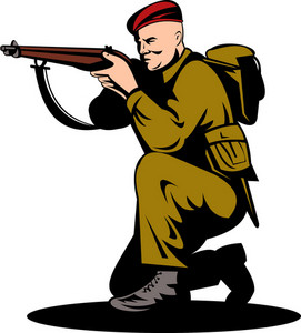 British World War Two Soldier Aiming Rifle