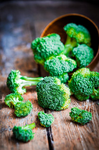Broccoli On Rustic Wooden Background