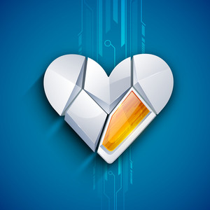 Broken Heart On Blue Background