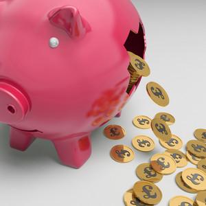 Broken Piggybank Showing British Financial State