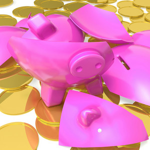 Broken Piggybank Showing Due Payments
