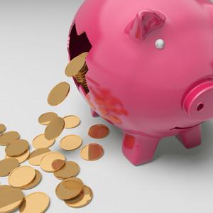 Broken Piggybank Showing Regular Earnings