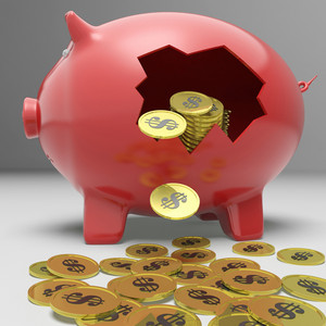 Broken Piggybank Shows Financial Deposit