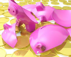 Broken Piggybank Shows Monetary Crisis