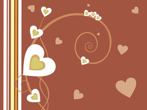 Brown Background With Many Hearts