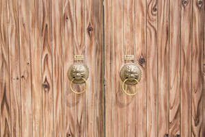 Brown wood door texture and background