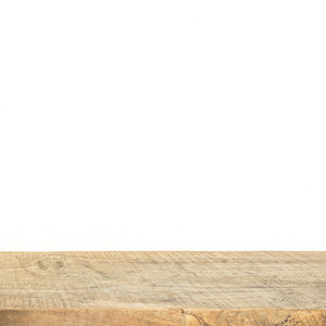 Brown wood plank texture background with white wall for product show use.