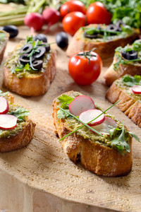 Bruschetta On Wooden Background