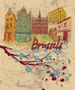 Brussels Doodles With Grunge Vector Illustration