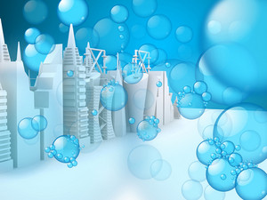 Bubbles On 3d Skylines