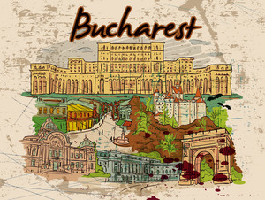 Bucharest Doodles With Grunge Vector Illustration