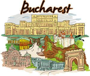 Bucharest Vector Doodle