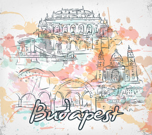 Budapest Doodles With Grunge Vector Illustration