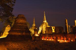 Buddha Image And Monks