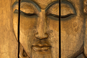 Buddha Painting On Wooden Wall