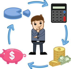 Budget, Saving, Calculate, Invest Circle - Business Cartoon Vectors