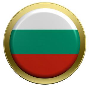 Bulgaria Flag On The Round Button Isolated On White.