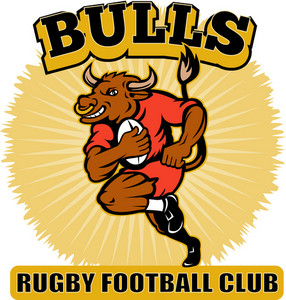 Bull Playing Rugby Running With Ball