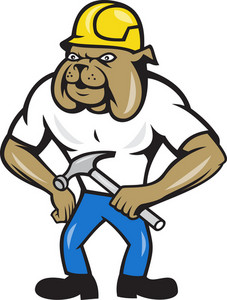 Bulldog Construction Worker Hammer