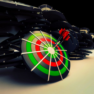 Bulls Eye Target Dart Shows Successful Business Performance