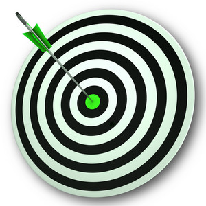 Bulls Eye Target Shows Perfect Accuracy And Focus
