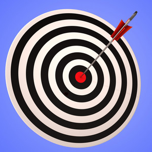 Bulls Eye Target Shows Precise Winning Strategic Goal
