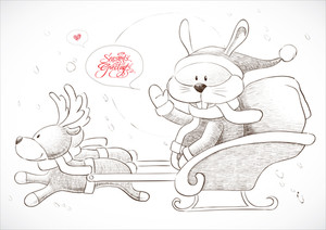 Bunny Delivering Christmas Gift With Reindeer