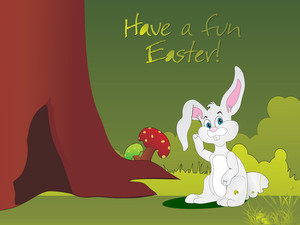 Bunny House In The Tree Vector Illustration