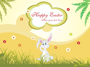 Bunny Siting In Garden Illustration