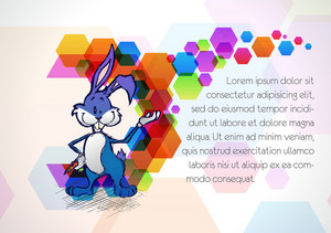 Bunny With Colorful Background Vector Illustration