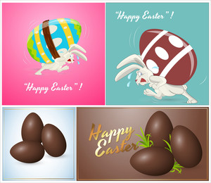 Bunny With Easter Eggs Vectors